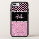 PINK GLITTER BLACK CHEVRON MONOGRAMMED OtterBox SYMMETRY iPhone 8 PLUS/7 PLUS CASE