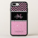 "PINK GLITTER BLACK CHEVRON MONOGRAMMED OtterBox SYMMETRY iPhone 8 PLUS/7 PLUS CASE<br><div class=""desc"">PINK GLITTER BLACK CHEVRON MONOGRAMMED 2. Elke Clarke &#169;. Other styles and colors available in our store, Monogramgallery &#169; at Zazzle. GIRLY MODERN BABY PINK GLITTER (PRINTED EFFECT) WITH BLACK AND PINK CHEVRON PATTERN, MONOGRAMMED WITH YOUR NAME, YOUR INITIAL OR MONOGRAM ON A BLACK STRIPE OR BAND WITH A BORDER...</div>"