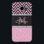 "PINK GLITTER BLACK CHEVRON MONOGRAMMED SAMSUNG GALAXY S6 CASE<br><div class=""desc"">PINK GLITTER BLACK CHEVRON MONOGRAMMED 2. Elke Clarke &#169;. Other styles and colors available in our store, Monogramgallery &#169; at Zazzle. GIRLY MODERN BABY PINK GLITTER (PRINTED EFFECT) WITH BLACK AND PINK CHEVRON PATTERN, MONOGRAMMED WITH YOUR NAME, YOUR INITIAL OR MONOGRAM ON A BLACK STRIPE OR BAND WITH A BORDER...</div>"