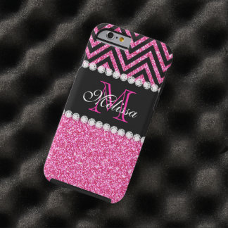 Pink Glitter Black Chevron MonogramMED Tough iPhone 6 Case