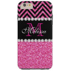 Pink Glitter Black Chevron MonogramMED Tough iPhone 6 Plus Case