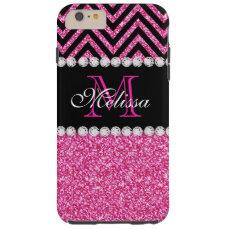 Pink Glitter Black Chevron MonogramMED Tough iPhone 6 Plus Case