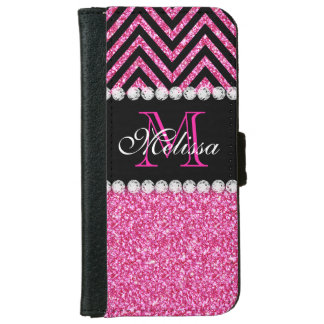 Pink Glitter Black Chevron Monogrammed Wallet Phone Case For iPhone 6/6s