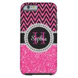 Pink Glitter Black Chevron Tough iPhone 6 Case