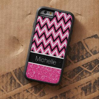 Pink Glitter Black Chevron Xtreme iPhone 6 Case