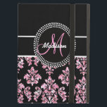 """PINK GLITTER BLACK DAMASK YOUR MONOGRAM CASE FOR iPad AIR<br><div class=""""desc"""">Personalized Girly Black and Pink Damask with PRINTED glitter effect and your monogram and your name with pink accent color. Customize with your name and monogram. Damask Gallery&#169; Other colors and styles available in our shop at www.zazzle.com/DamaskGallery*</div>"""