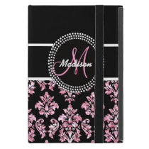 PINK GLITTER BLACK DAMASK YOUR MONOGRAM COVER FOR iPad MINI