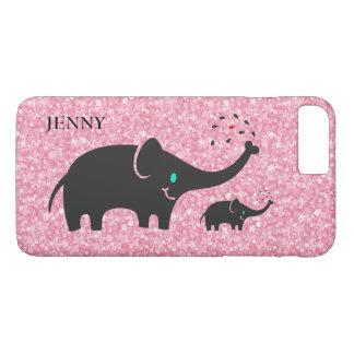 Pink Glitter Black Elephants iPhone 8 Plus/7 Plus Case
