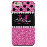 Pink Glitter Black Polka Dots Monogrammed Tough iPhone 6 Plus Case