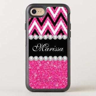 Pink Glitter Black White Chevron Stripes Pattern OtterBox Symmetry iPhone 7 Case