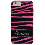 Pink Glitter Black Zebra iPhone Tough 6 Plus Case Tough iPhone 6 Plus Case