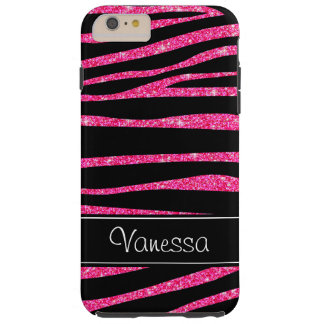 Pink Glitter Black Zebra iPhone Tough 6 Plus Case