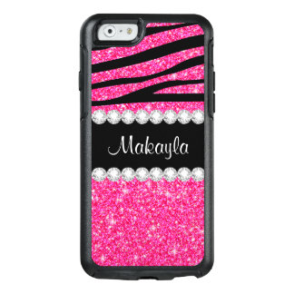 Pink Glitter Black Zebra Otterbox iPhone 6 Case