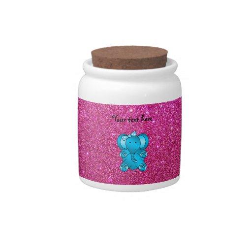 Pink glitter blue elephant candy dish