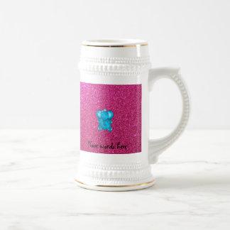 Pink glitter blue elephant 18 oz beer stein