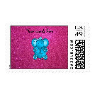 Pink glitter blue elephant postage stamp