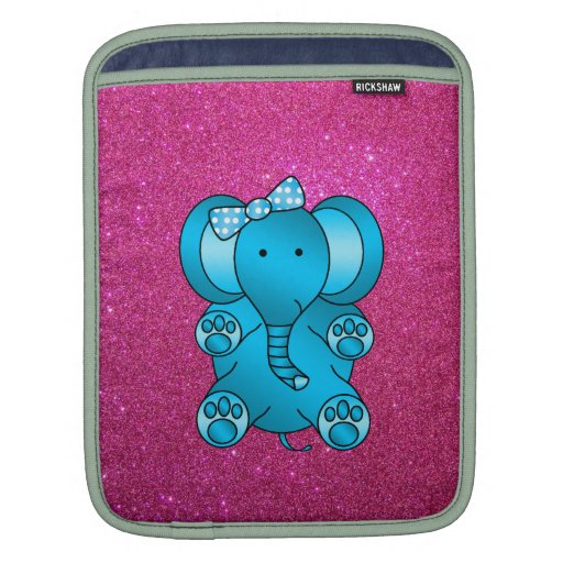 Pink glitter blue elephant sleeves for iPads