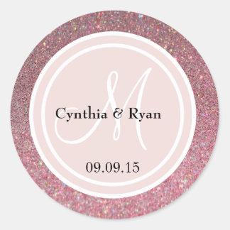 Pink Glitter & Blush Pink Wedding Monogram Sticker