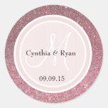 Pink Glitter & Blush Pink Wedding Monogram Round Stickers