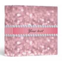 Pink Glitter Bokeh and Diamonds Personalized 3 Ring Binder