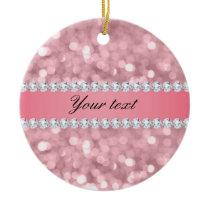 Pink Glitter Bokeh and Diamonds Personalized Ceramic Ornament