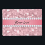 "Pink Glitter Bokeh and Diamonds Personalized Placemat<br><div class=""desc"">Beautiful, glamorous, feminine, blush pink glitter bokeh with an elegant shiny pink gradient strip with faux diamonds for you to personalize. PLEASE NOTE: These are flat printed graphics - no raised parts. If you need any assistance customizing your product please contact me through my store and I will be happy...</div>"
