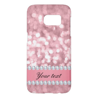 Pink Glitter Bokeh and Diamonds Personalized Samsung Galaxy S7 Case
