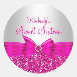 Pink Glitter & Bow Sweet Sixteen Sticker
