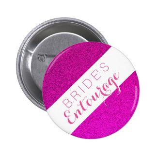 Pink glitter bride's entourage bridesmaid button