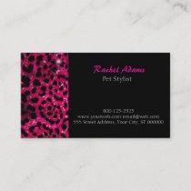 Pink Glitter Cheetah Print Pet Groomer Business Card