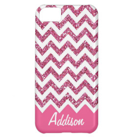 Pink Glitter Chevron Name BLING Case Cover For iPhone 5C