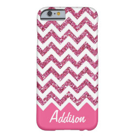 Pink Glitter Chevron Name BLING Case Barely There iPhone 6 Case