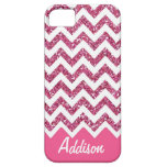 Pink Glitter Chevron Name BLING Case iPhone 5 Cover