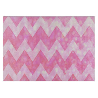Pink Glitter Chevron Pattern Cutting Board
