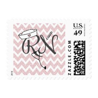 Pink Glitter chevron RN nurse postage stamp