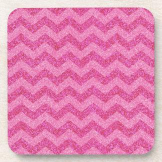 pink glitter chevron zig zag sparkles drink coaster