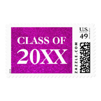 Pink glitter Class of ... Graduation party stamps