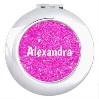 Pink Glitter Compact Mirror