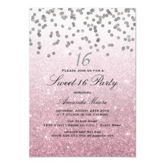 Pink Glitter Confetti Sweet 16 Invitation