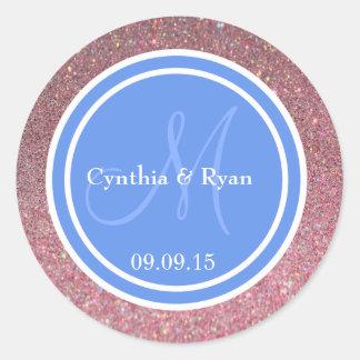 Pink Glitter & Cornflower Blue Wedding Monogram Classic Round Sticker