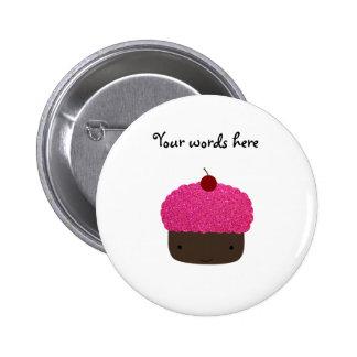 Pink glitter cupcake buttons