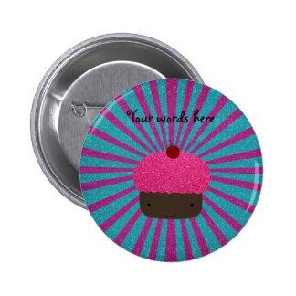 Pink glitter cupcake glitter sunburst pin