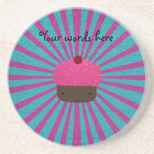 Pink glitter cupcake glitter sunburst drink coaster