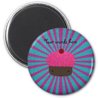 Pink glitter cupcake glitter sunburst magnets
