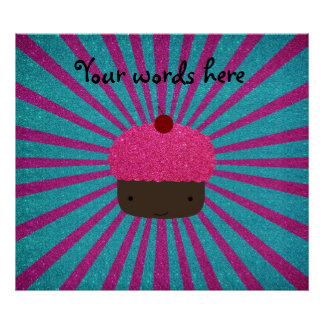 Pink glitter cupcake glitter sunburst posters