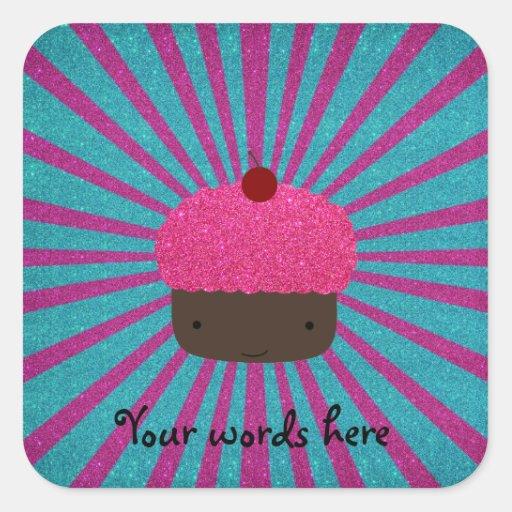 Pink glitter cupcake glitter sunburst square sticker