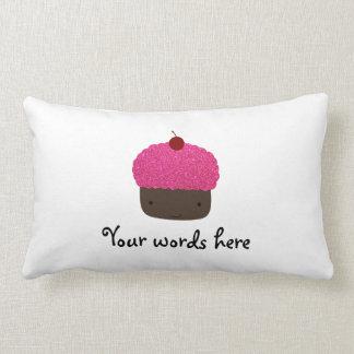 Pink glitter cupcake throw pillow