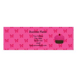 Pink glitter cupcake pink butterflies business card templates