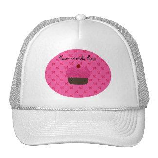 Pink glitter cupcake pink butterflies trucker hat