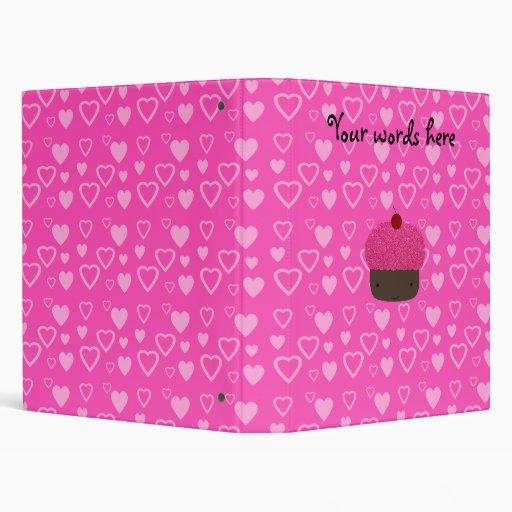 Pink glitter cupcake pink hearts binder